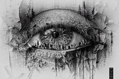 Eyescape (Danielle_T) Tags: portrait blackandwhite man eye art texture halloween strange digital photoshop dark photography skull graphicdesign spider weird insane intense emotion digitalart goth dream surreal freaky creepy spooky ill psycho horror watercolour strong imagination nightmare unusual mad conceptual lucid wacom splatter topaz mental