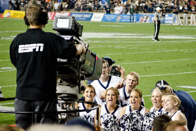 BYU Cheerleaders enjoy some national TV time as they cheer for ESPN