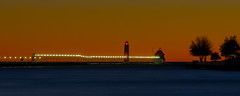 nightfall (randyr photography) Tags: blue sunset orange lighthouse lake haven night river long exposure michigan sony grand panoramic telephoto alpha a850 sal70200g