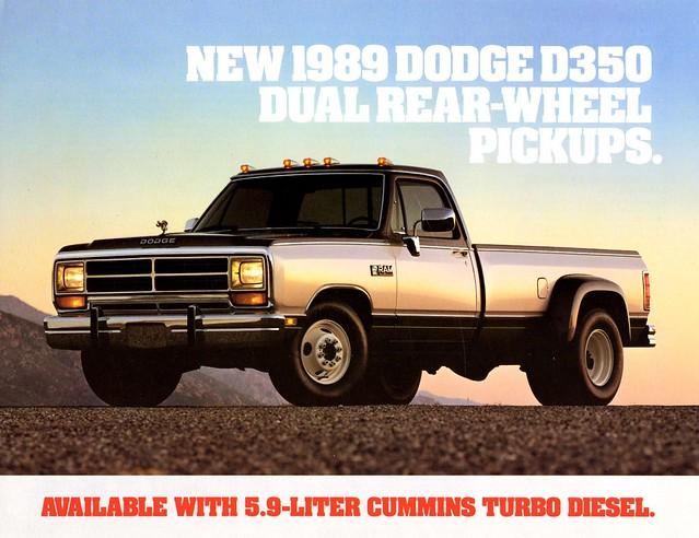 dodge trucks 1989 dual brochure pickups d350 rearwheel