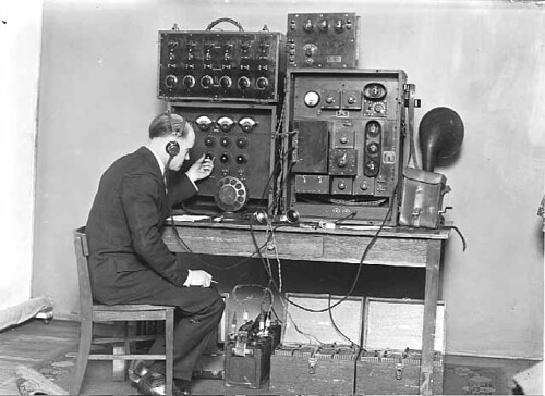 Engineer and Remote Control Transmitter, WCCO Radio, Minneapolis, 1925 by John McNab