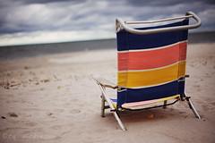 Summer's Over (tajthemahal) Tags: ocean cloud color beach nature canon landscape newjersey sand chair nj overcast shore capemay 50mmf18 2011 5dmarkii worldwidephotowalk wwpw