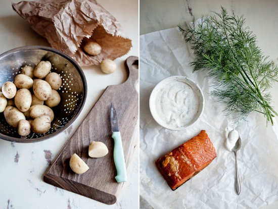 Smoked salmon and potato salad ingredients