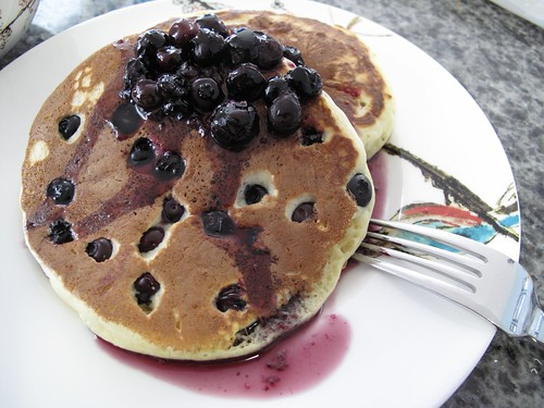 blueberry pancakes + blueberry maple syrup