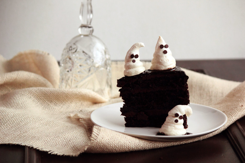 Chocolate Fudge Cake with Ghost Meringues