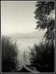 Secret Mooring (mikeinlagardette) Tags: camera autumn travelling monochrome backlight boats bavaria 645 kodak lakes jpg chiemsee folding 100asa tif 620 foma caffenol conversions duosix20 gupr