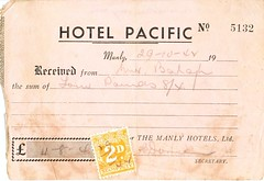 WWII 1942 Hotel Pacific Manly Honeymoon Receipt (PeaceLoveScoobie) Tags: wedding army us pacific manly wwii sydney marriage australia nsw ww2 newsouthwales 1942 airforce 5th worldwar 35th 41st usaaf fightersquadron pacifichotel aircorp warbride usaac fightergroup dutystamp pursuitsquadron pursuitgroup
