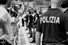 Watch your back! (LaKry*) Tags: people blackandwhite grey blackwhite back grigio gente police demonstration biancoenero schiena polizia manifestazione priabona legalalega noalgiropadano