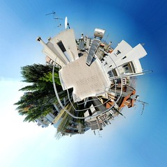 suburban rooftop Little Planet (amfipolos) Tags: roof rooftop photoshop photography 360 athens panoramic suburb sonycybershot polarcoordinates builidings littleplanet polarpanorama stereographicprojection
