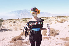 Catrina with the bride and groom (mari beltran) Tags: camera art film girl beauty fashion skeleton death skull dance model desert makeup calavera