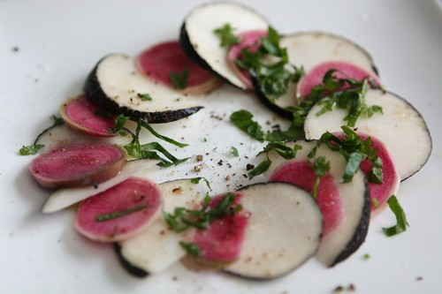 Black and Watermelon Radishes with Parsley