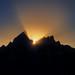 Last rays of sun behind Grand Teton Mountains