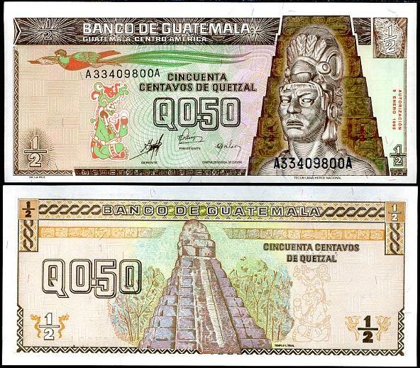 1/2 Quetzal Guatemala 1998, Pick 98