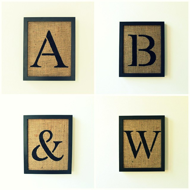 stencil style alphabet letters on burlap wall decor