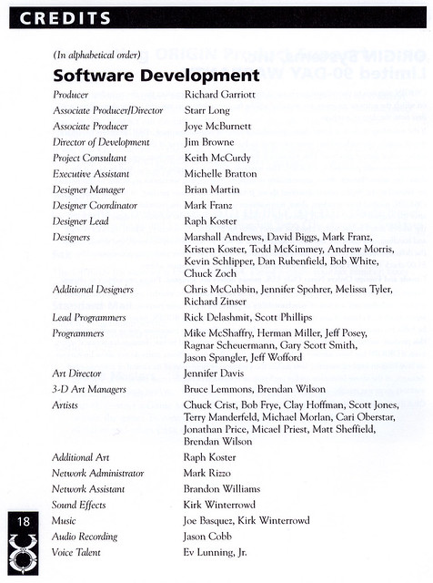 Ultima Online: Charter Edition: Credits #1