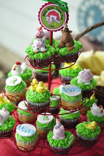 Barnyard cupcake tower