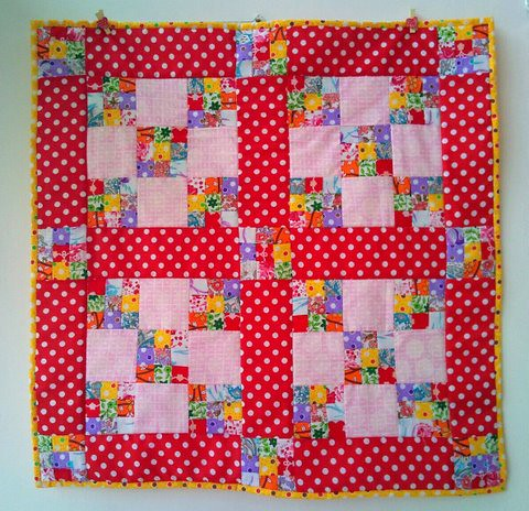 double nine patch mini quilt