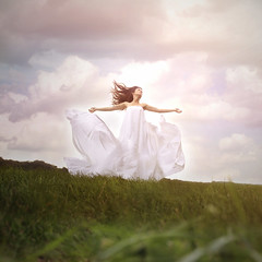 i'm free, to be whatever i want. (Jenny Khler  blue.sky photography) Tags: sky girl field clouds self hair square freedom flying dress free floating sheet