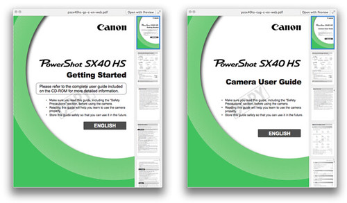 Canon PowerShot SX40 HS Manuals