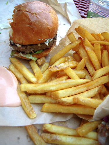 Blue Cheese Burger and Truffle Fries