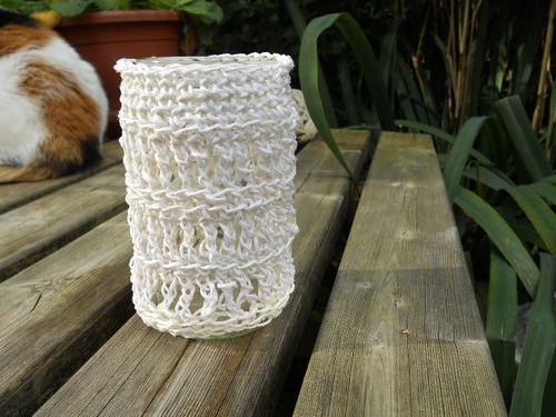 Glazen potje met een gehaakt jasje / Crocheted jacket for a glass jar by evstra