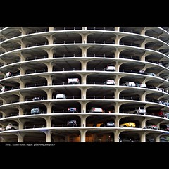 Parking lot (mariola aga) Tags: chicago building tower cars architecture square downtown parking marinacity scyscraper thegalaxy thecorncobs