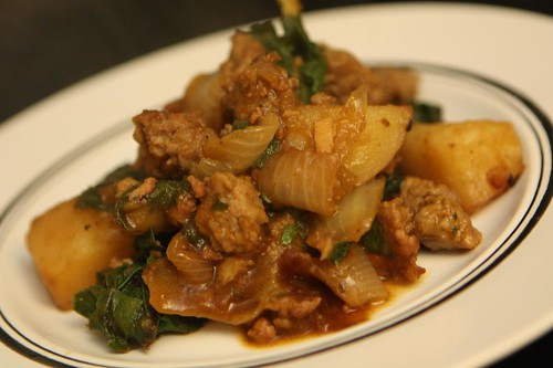 Sausage and Potato Stew with Rainbow Chard