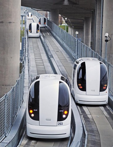 Driverless Electric Car Transport System at Heathrow Airport