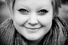 Hanna (m.westin) Tags: portrait bw smile face mouth nose 50mm blackwhite eyes friend hanna cheeks nikond90