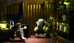 The Whisperer in Darkness (captainsmog) Tags: wood old lamp metal log lego box furniture space fear atmosphere brain stove cthulhu horror armchair creature et vignette hplovecraft extraterrestrial mocs moc migo minifigures unnamable