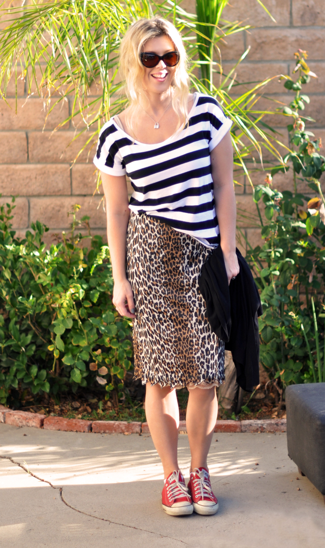 stripes + leopard skirt + red converse