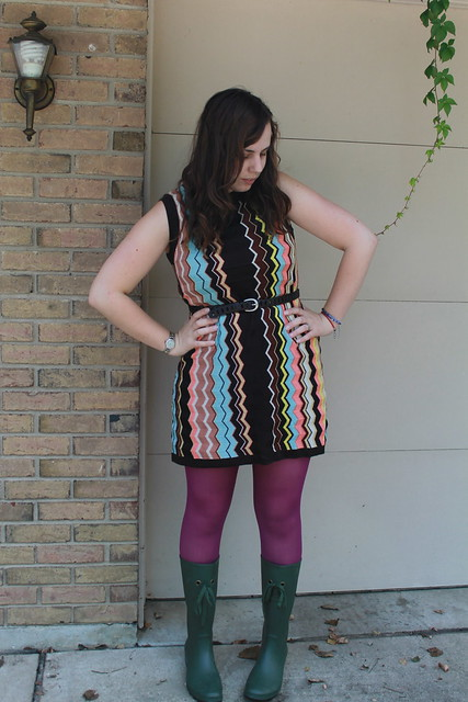 Outfit - rain boots, magenta tights, Missoni for Target dress