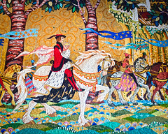 Happily Ever After (Peter E. Lee) Tags: horse white japan forest shiny mosaic interior banner prince disney tiles jp chiba inside cinderella charming charger 2010 goldleaf cinderellacastle tdr tokyodisneyresort tokyodisneylandresort disneyphotochallenge tdlr