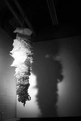 Paper, Tape & Imagination. (Cat Boyce Photography) Tags: bw sculpture white black art up contrast paper is shadows yeah thing it class size 101 tape what hanging height lots woot uconn crumpled 1010 maskingtape crumples