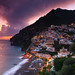 Positano at dusk, Amalfi Coast, Italy