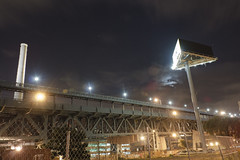 Ben Franklin Bridge at Night (D. Coleman Photography) Tags: county street city bridge trees urban moon black building philadelphia metal night clouds river concrete lights franklin construction state ben pennsylvania smoke exploring stack billboard delaware exploration