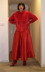 The Scarlet Governess (7) (Furre Ausse) Tags: red boots skirt blouse gloves corset satin mistress domme domina governess gouvernante