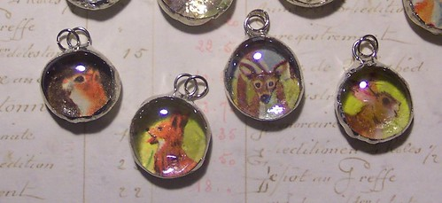 Bubble Glass Pendants with Vintage Illustrations