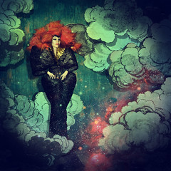 I still believe in art (alejodiseo) Tags: blue portrait sky art azul clouds hair stars teatro theater skies feathers cielo wig nubes bjork alexander cosmos mcqueen peluca biophilia alejodiseo