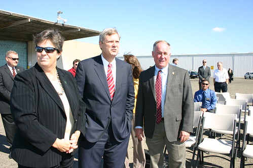 L to R – Rural Development State Director Glenda Humiston, Secretary Vilsack, FSA State Executive Director Val Dolcini at the Port of Sacramento