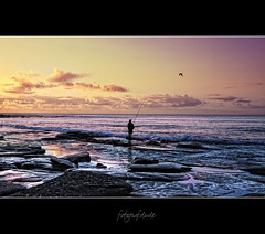 You Do Not Need a Reason to Fish, Just an Excuse... (fotografdude) Tags: ocean bird silhouette clouds reflections dawn fisherman nikon rocks waves earlymorning queensland rod caloundra reel kingsbeach rockpools seabeach d90 colorphotoaward mygearandme fotografdude