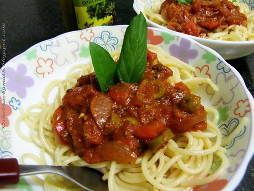 Spaghetti with Basil & Bell Pepper
