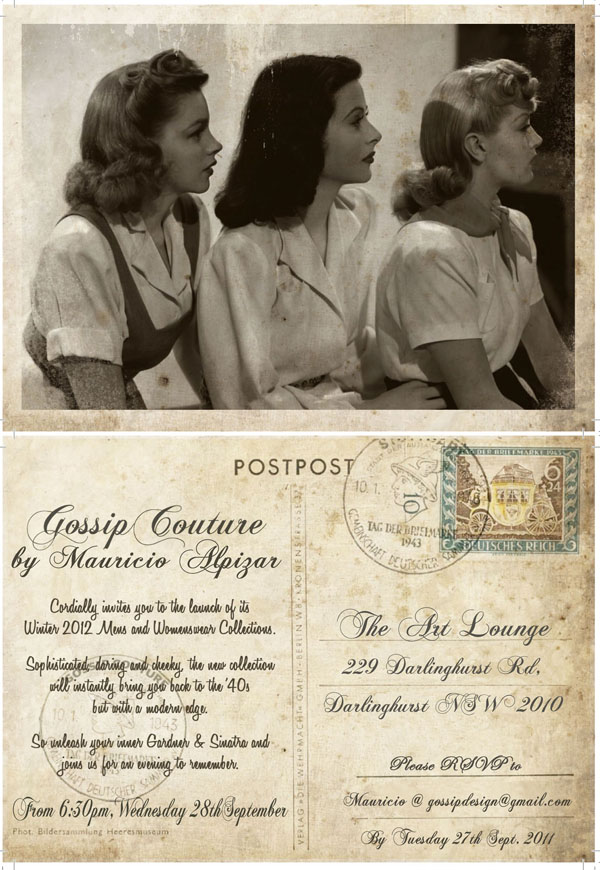 W12 Invitation Gossip Couture Fina Flyer, AW 2012