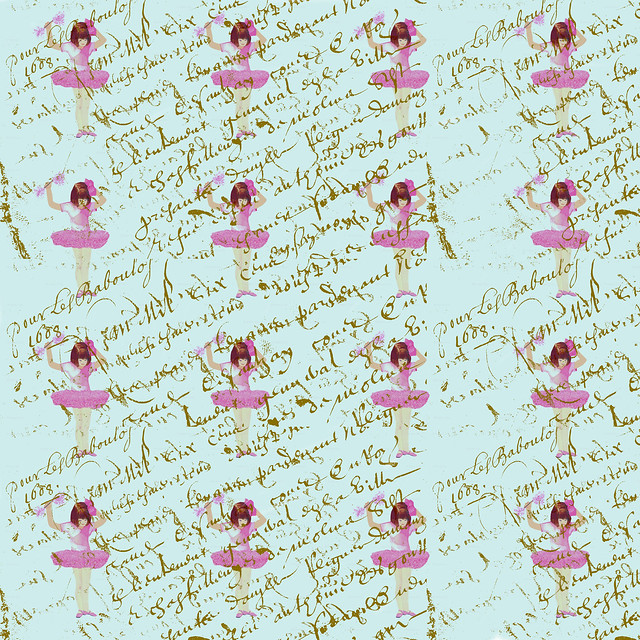 Ballerinas on french script pattern