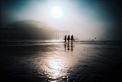 Three amigos (fotobes) Tags: autumn friends sea sun seagulls mist distortion film beach birds silhouette fog 35mm reflections sussex lca xpro crossprocessed sand brighton waves crossprocess grain silhouettes atmosphere westpier crossprocessing mysterious lowtide analogue vignetting brightonbeach vignette murky threeamigos seamist seafog 2011 threefriends stmospheric lomographychrome100 fotobes tobyfotobesmasonreflectionassignment