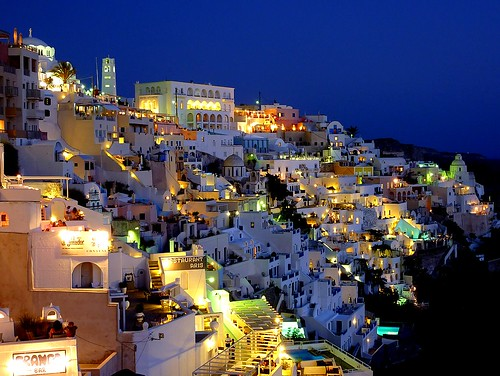 Blue hour in Thira, Santorini