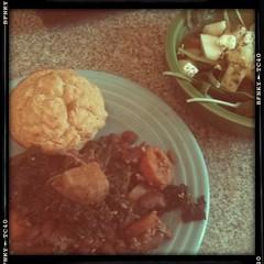 Potato & greens, cornbread, pear salad