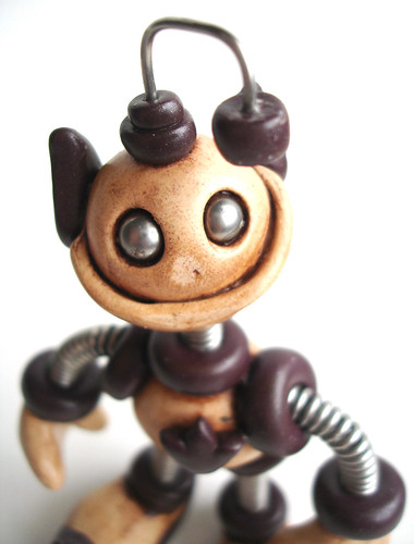 Mini Robot Elf Sculpture by HerArtSheLoves