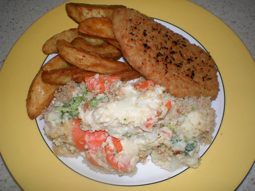 Vegetable Gratin (with wedges and Fry's Schnitzel)