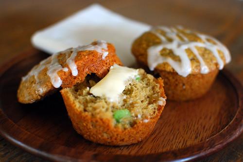 Lemon Glazed Blueberry Avocado Muffins